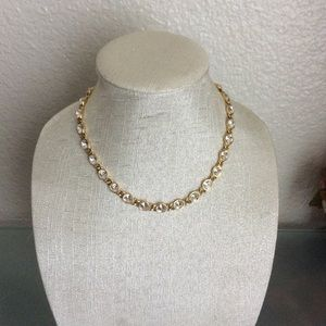 Jewelry - Vintage Necklace Gold Tone Clear Crystals
